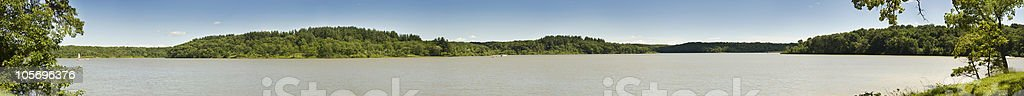 Wide Panoramic of Lake and Hills stock photo