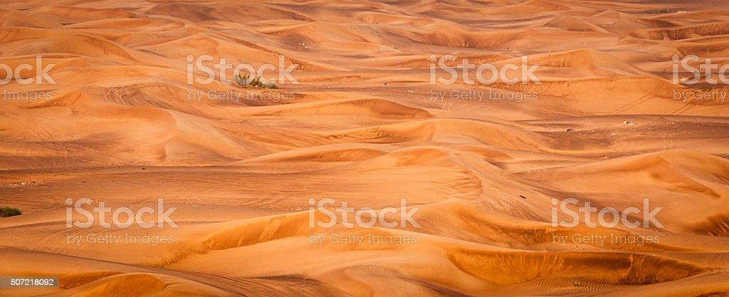 Wide Panoramic view from Dunes of Dubai, United Arab Emirates stock photo