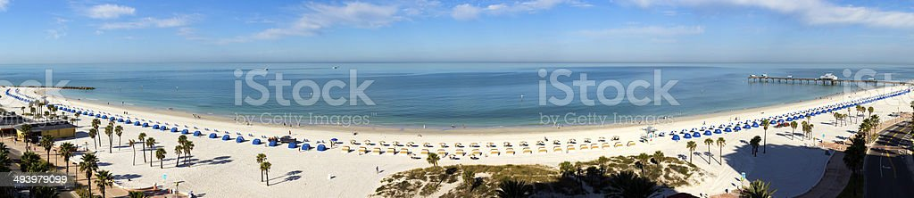Wide Panoramic View of Clearwater Beach Resort in Florida stock photo