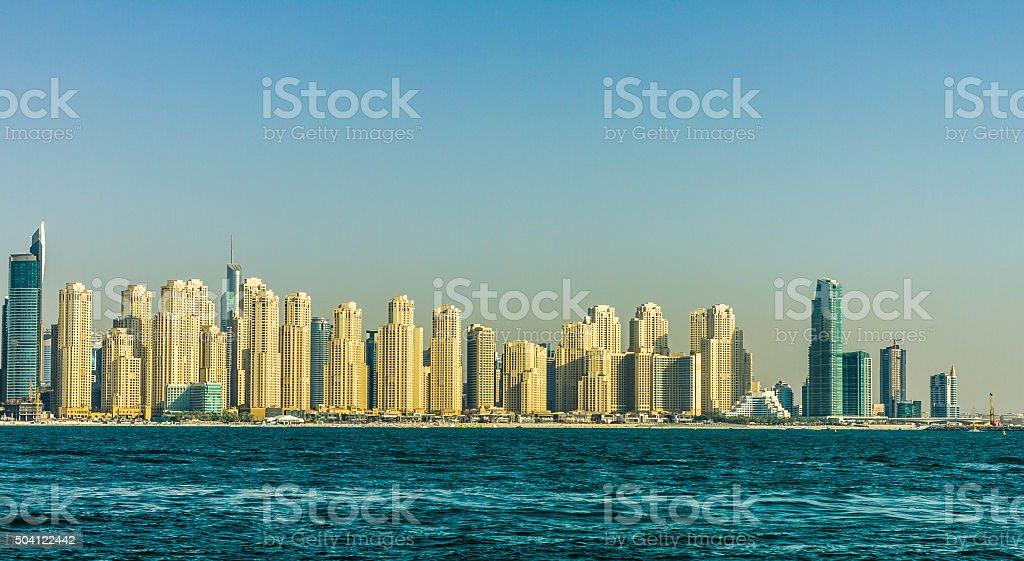 Wide Panoramic View of Dubai Marina stock photo