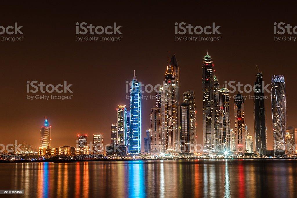 Wide Panoramic View of Dubai Marina Skyscrapers stock photo