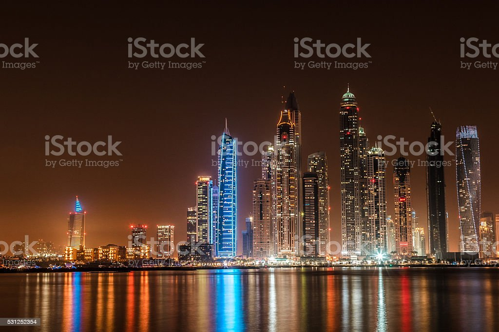 Wide Panoramic View of Dubai Marina Skyscrapers stock photo