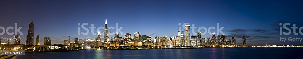 Wide Panoramic View of the Chicago Skyline at Twilight (XXL) stock photo