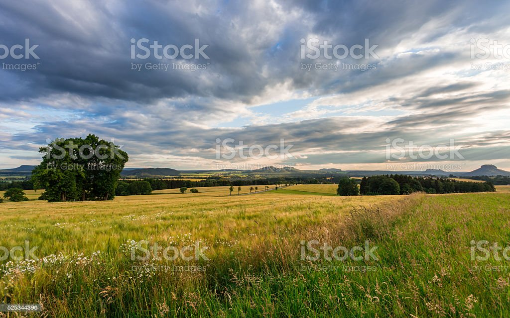 Wide panoramic view of the Saxony countryside, Germany stock photo