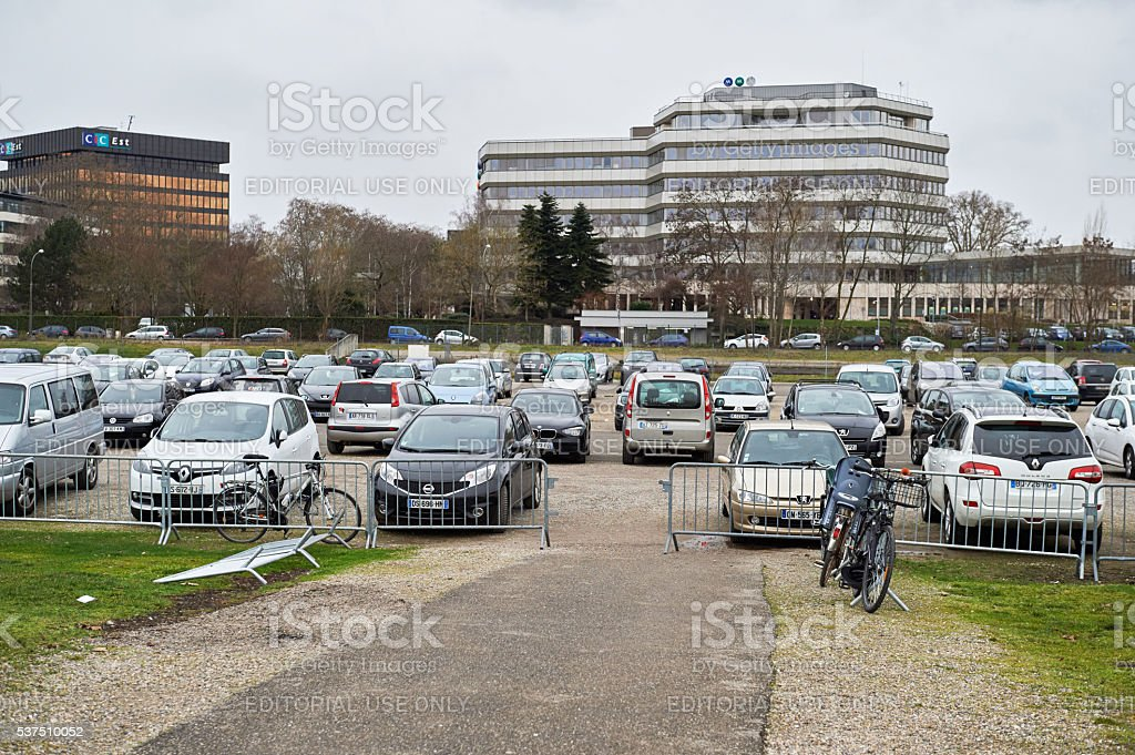 Wide parking stock photo