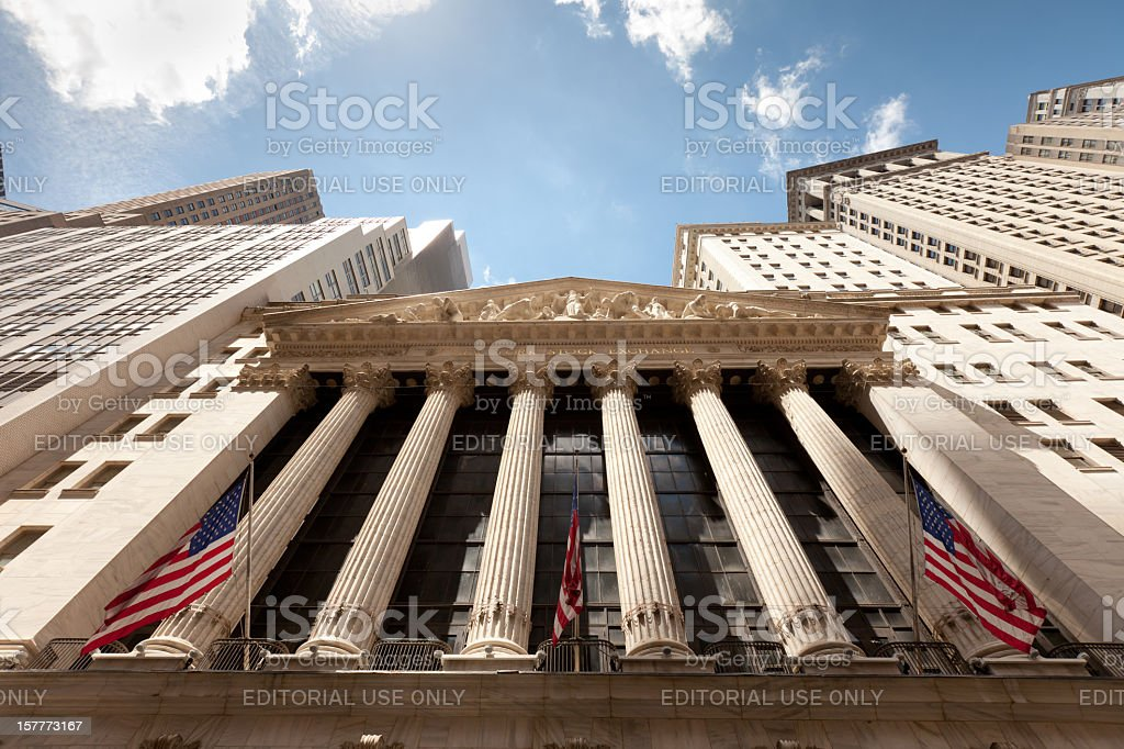 Wide photo of New York Stock Exchange stock photo