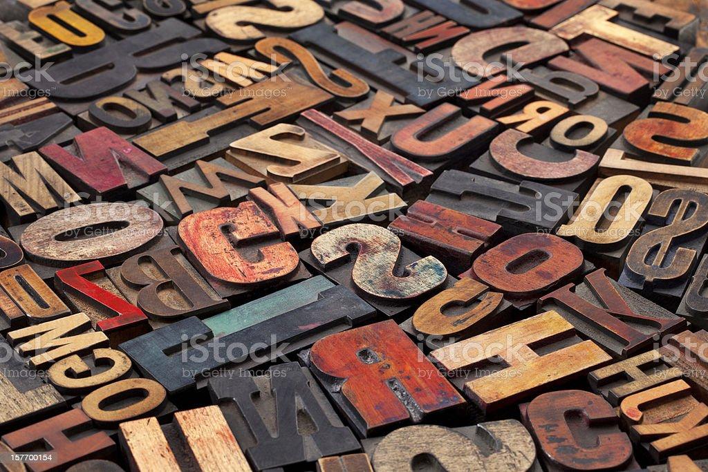 A wide range of antique letterpress blocks stock photo