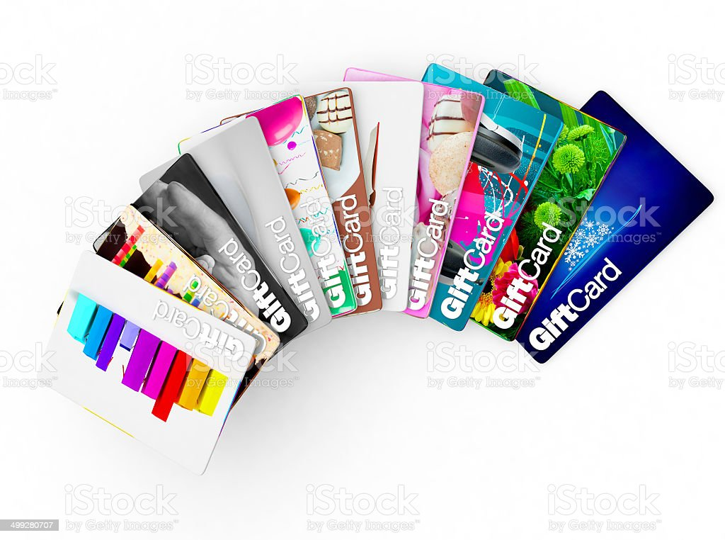 Wide range of gift card ideas for many demographics stock photo