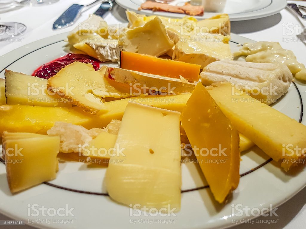wide range of variety of cheeses with jam stock photo