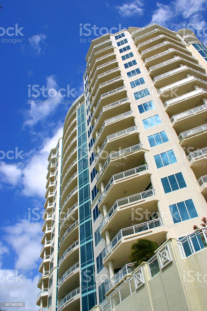 Wide residential building with great apartment with balcony royalty-free stock photo