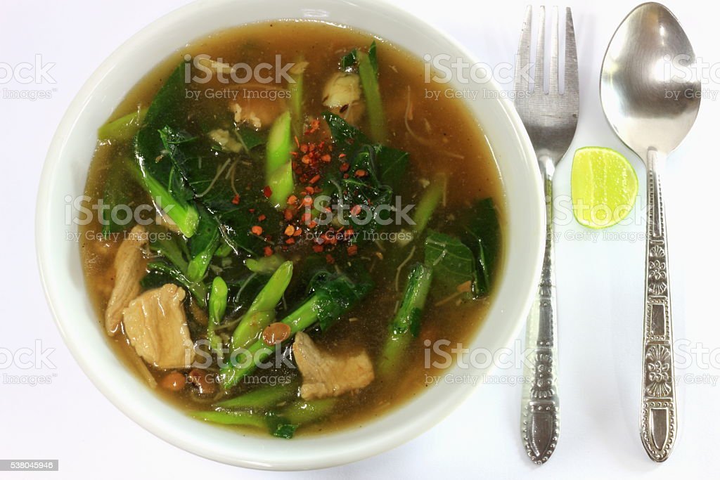 Wide Rice Noodles White Background stock photo