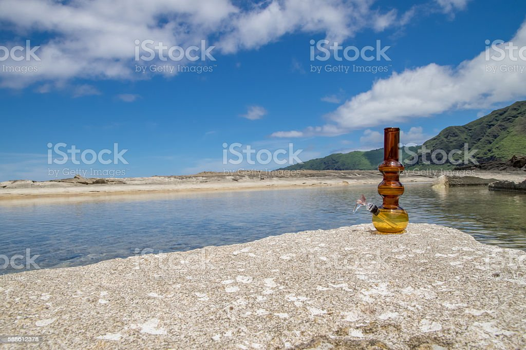 wide right profile bong on beach stock photo