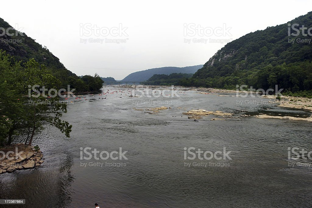 Wide River in Valley People Tubing stock photo