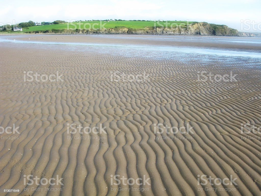 Wide Sand Rippled Farmside Beach in Southern Ireland stock photo