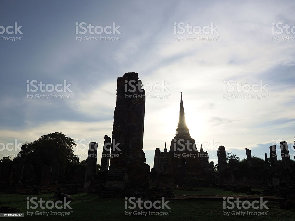wide screen of blacklit picture of old pagoda stock photo
