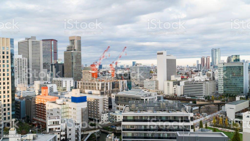 Wide shot of Construction crane in Tokyo city metropolitan of Japan stock photo