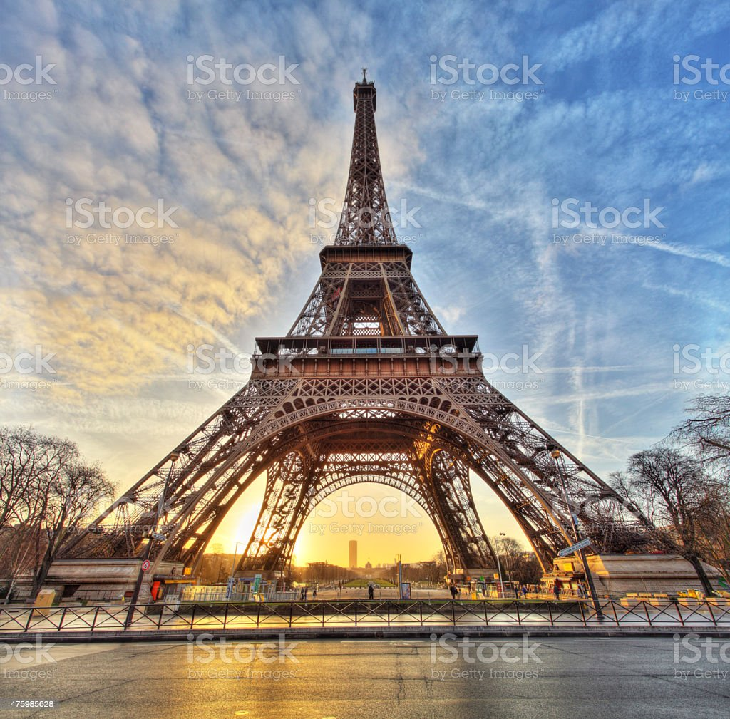 Wide shot of Eiffel Tower with dramatic sky, Paris, France stock photo