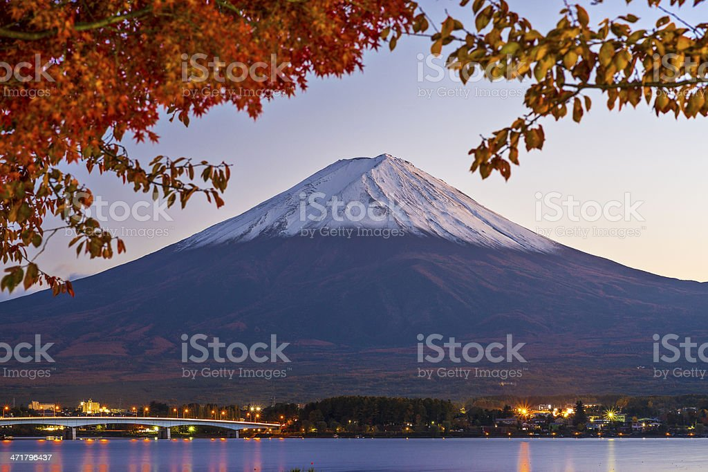 Wide shot of Mount Fuji at dawn stock photo