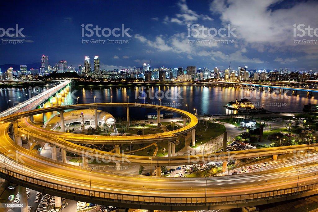 Wide shot of Seoul, South Korea at night stock photo