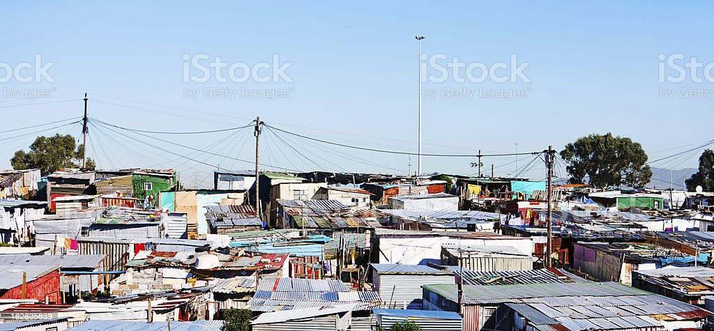 Wide shot of squatter camp near Cape Town stock photo