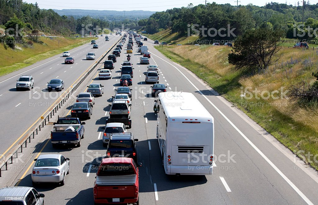 Wide shot of traffic on the right and none on the left royalty-free stock photo