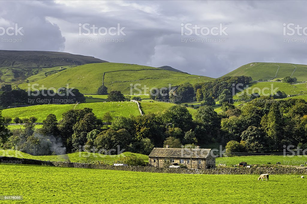 Wide shot of Yorkshire Dales National Park stock photo