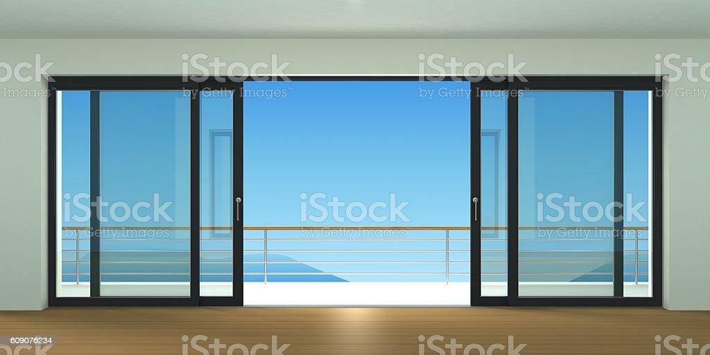 Wide sliding double door stock photo