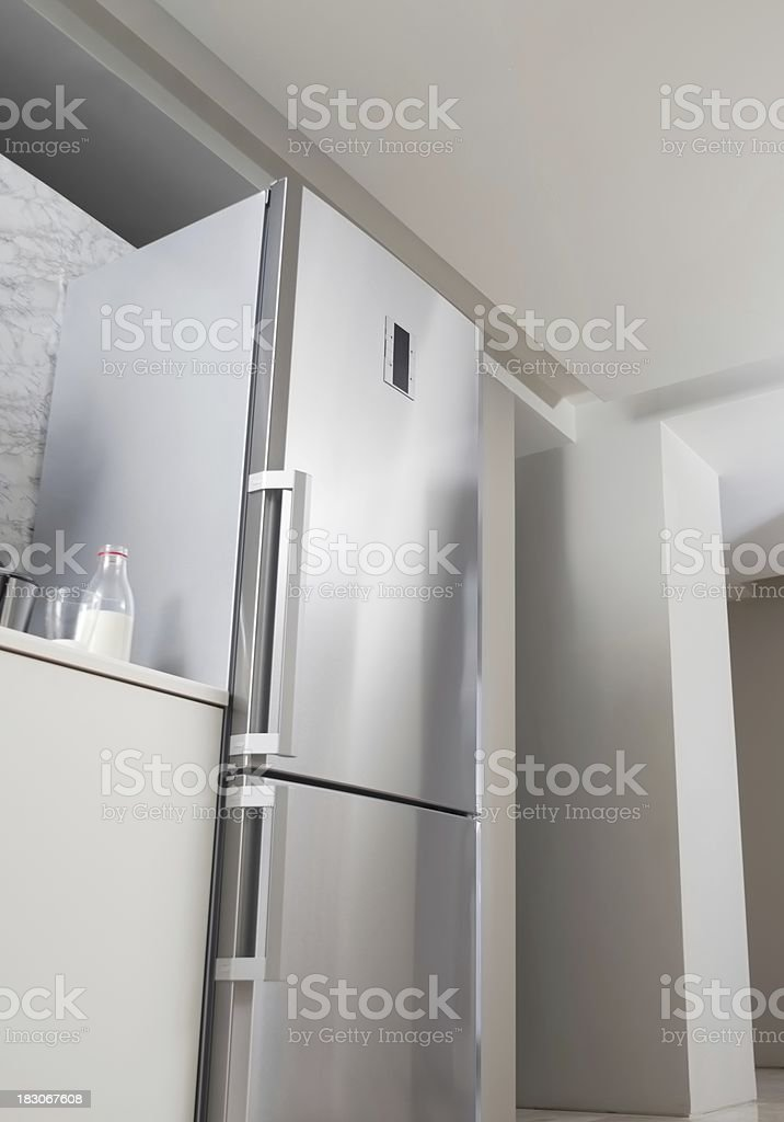 Wide sub-point of the kitchen refrigerator taken stock photo