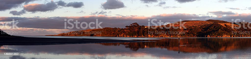 Wide sunrise over the lagoon stock photo