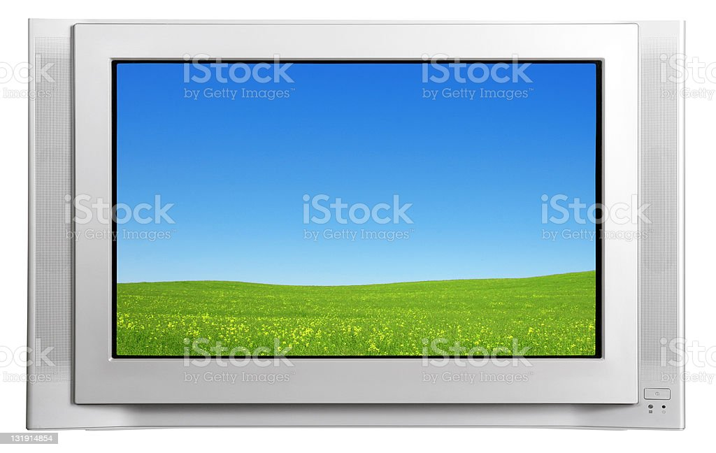 Wide TV screen on white [with work path] stock photo