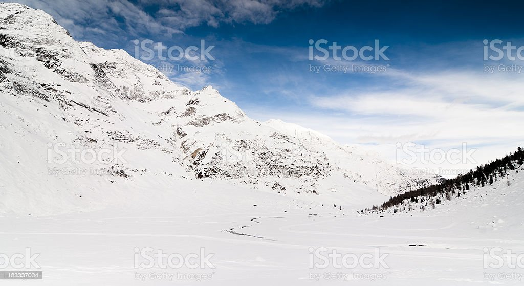 Wide valley, snowy, solitary stock photo