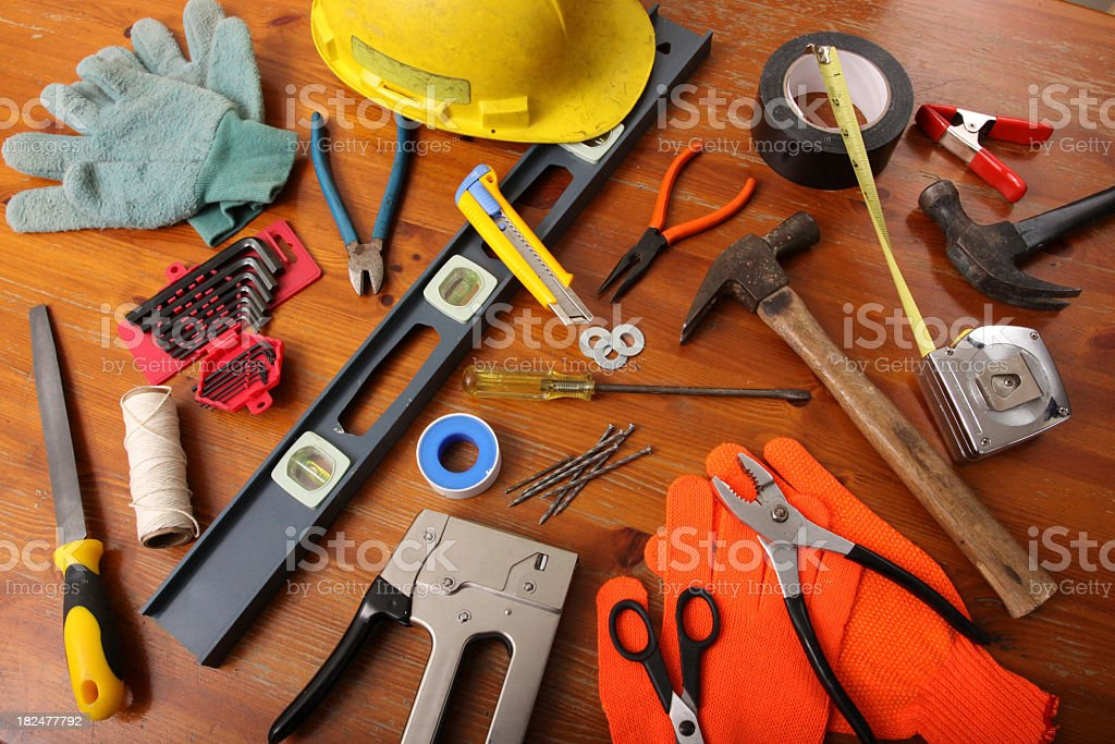 A wide variety of construction tools  royalty-free stock photo