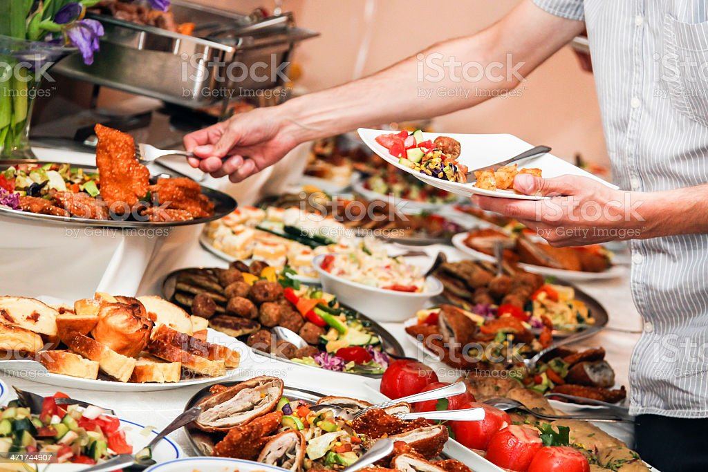 A wide variety of food at a buffet stock photo