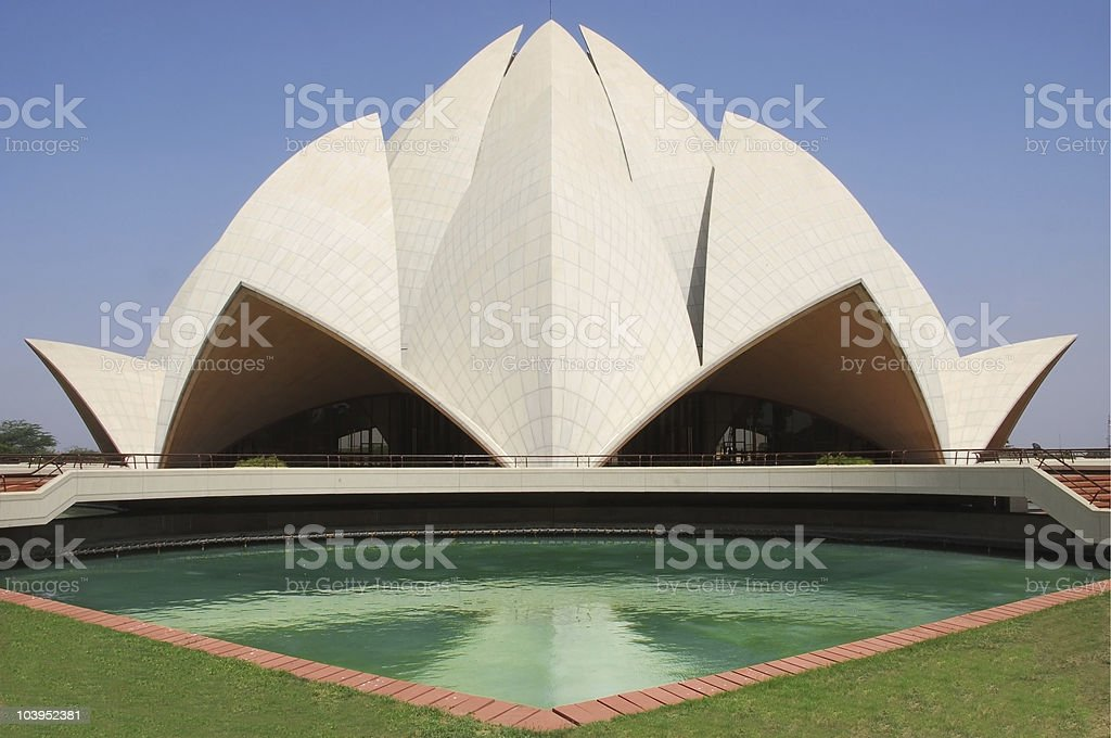 Wide view from the water pool of the Lotus Temple stock photo