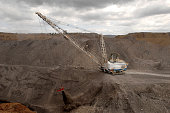 Wide view of a coalmine and Dragline.