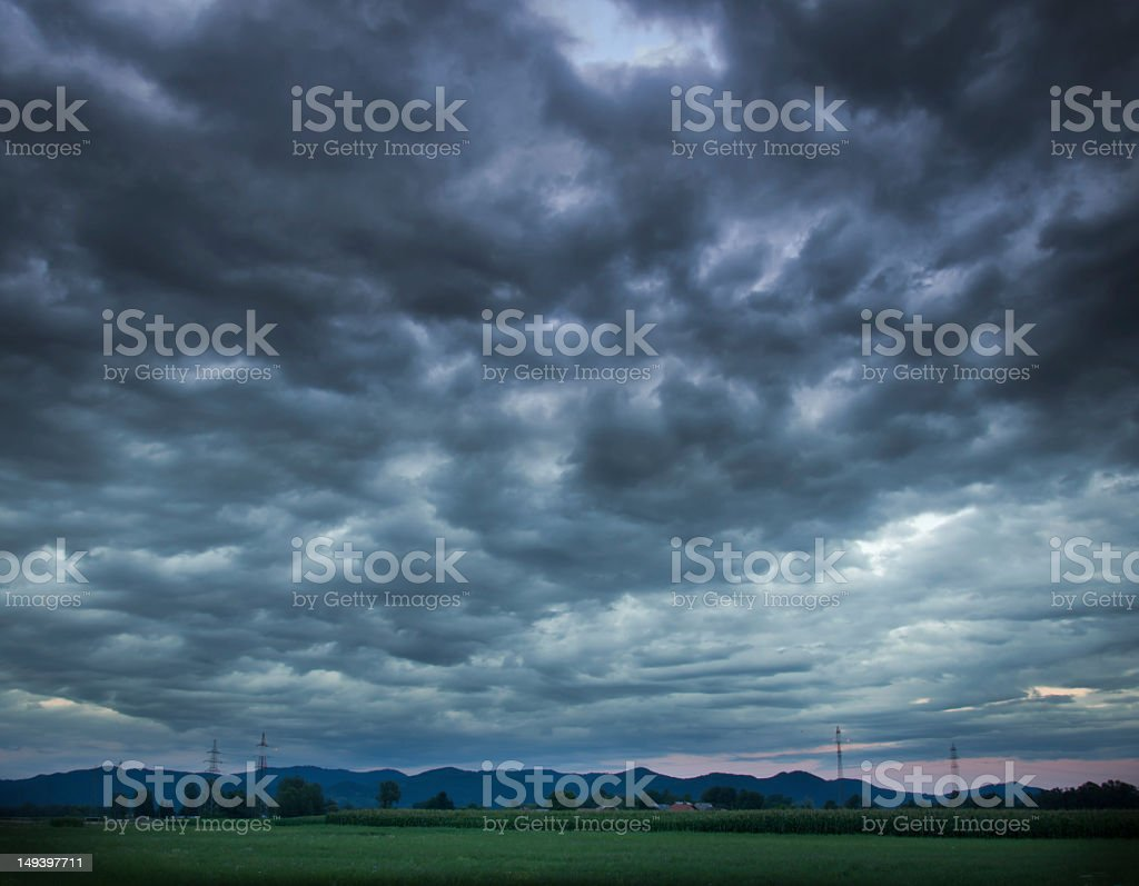 Wide view of a dark and stormy cloudscape stock photo