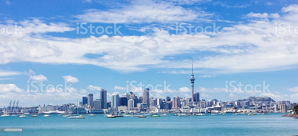Wide view of Auckland, New Zealand stock photo