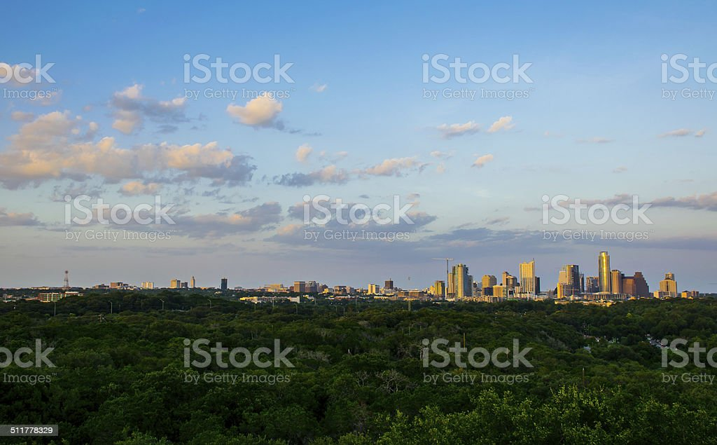 Wide View of Austin, Texas CityScape at Sunste stock photo