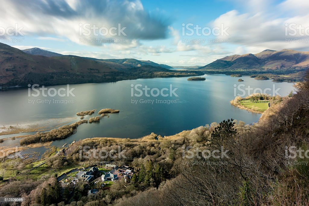 Wide View Of Derwentwater On A Sunny Day With Clouds. stock photo