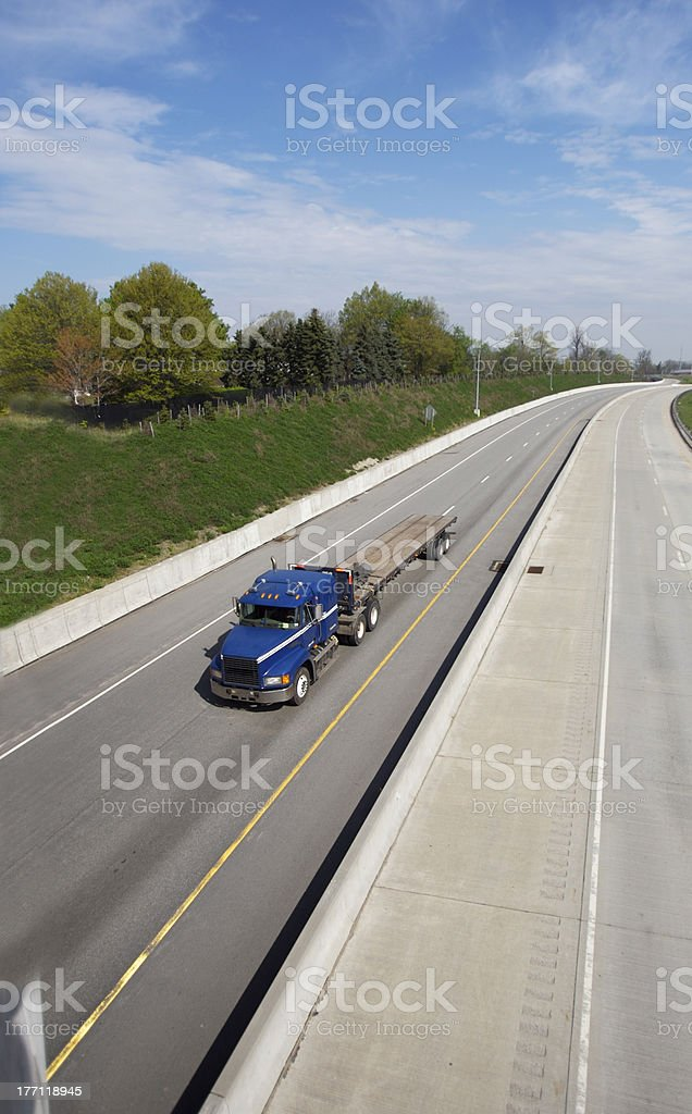 Wide View of Flatbed Truck royalty-free stock photo