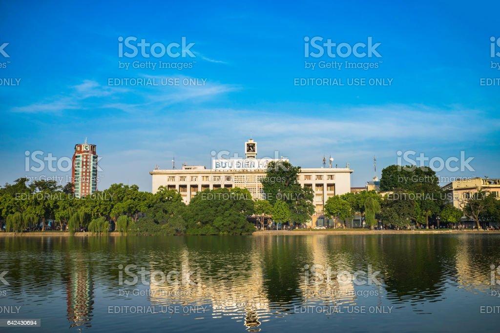 Hanoi, Vietnam - Aug 23, 2015: Wide view of Hoan Kiem lake with Hanoi main post office, in center of Hanoi stock photo