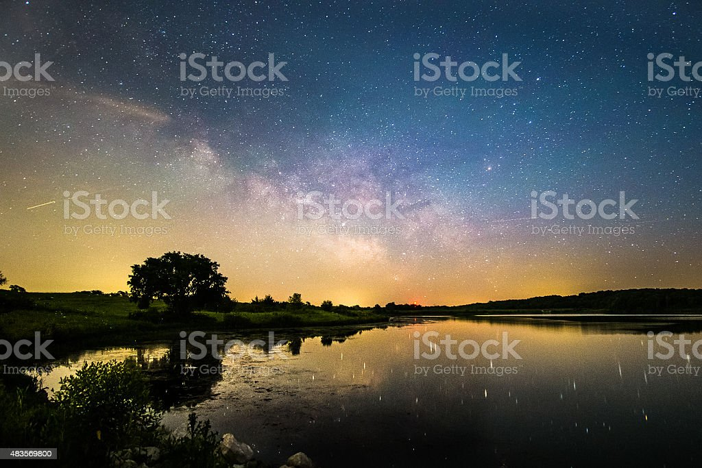 Wide view of Milky way galaxy crosses a lake stock photo