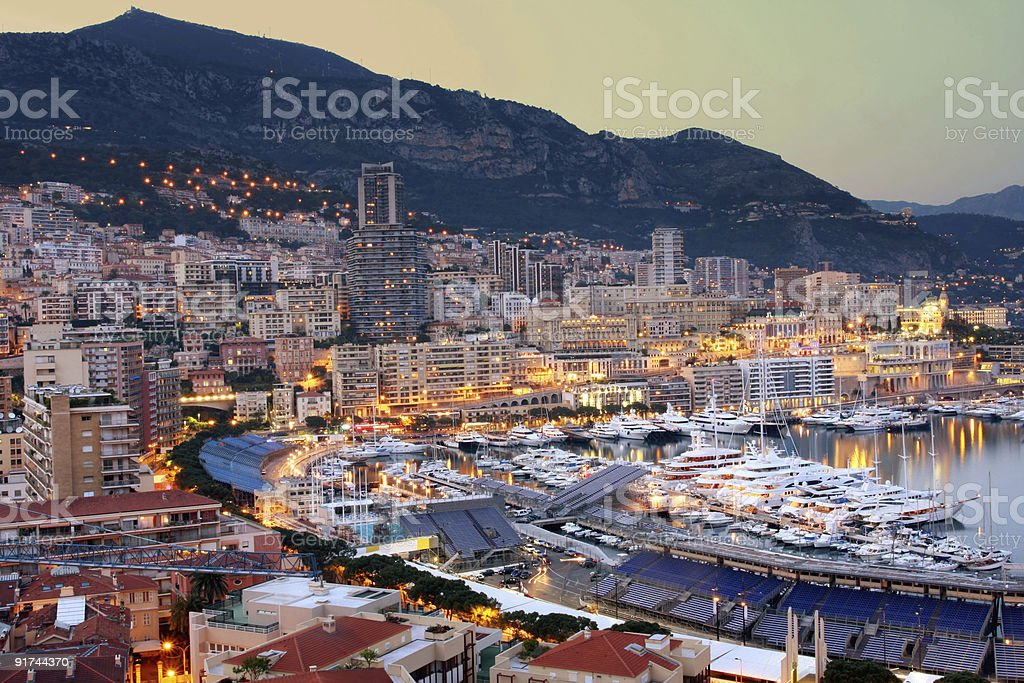 Wide view of Monaco at twilight stock photo