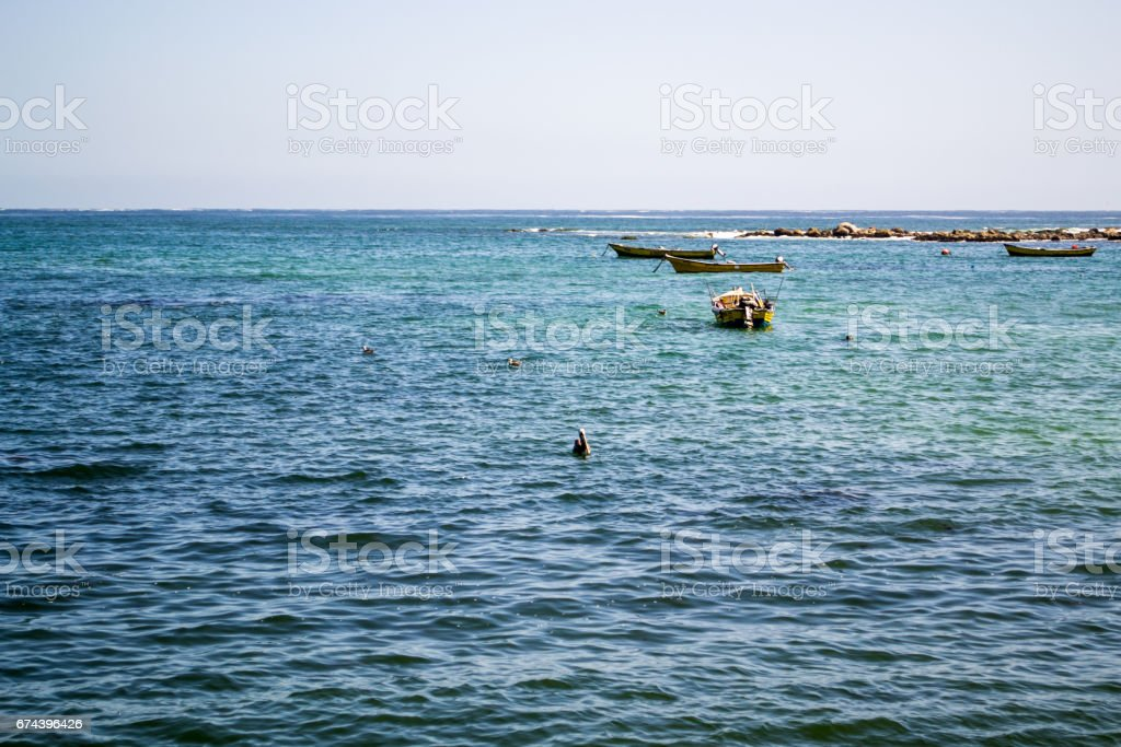 Wide view of th sea in Algarrobo Chile stock photo