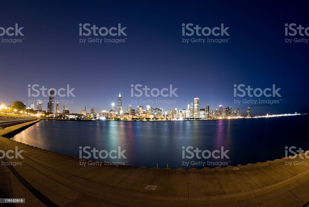 Wide View of the Chicago Skyline at Twilight stock photo