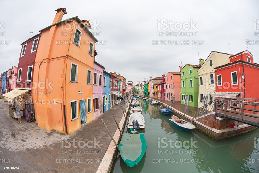 wide view on colorful houses in Burano stock photo