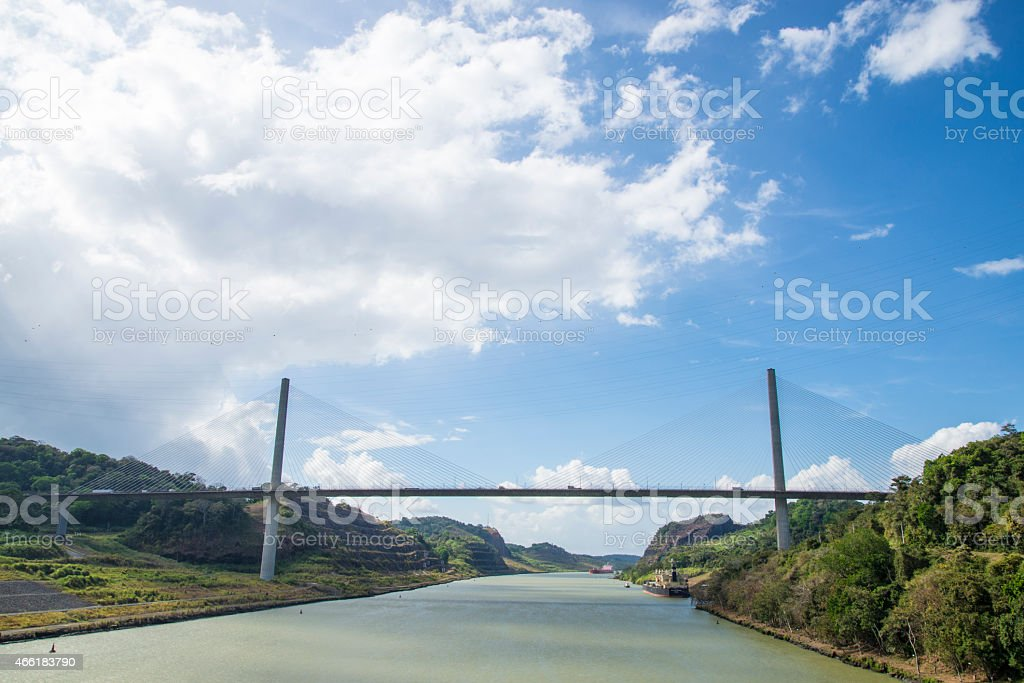 Wide view picture of the Panama Canal stock photo