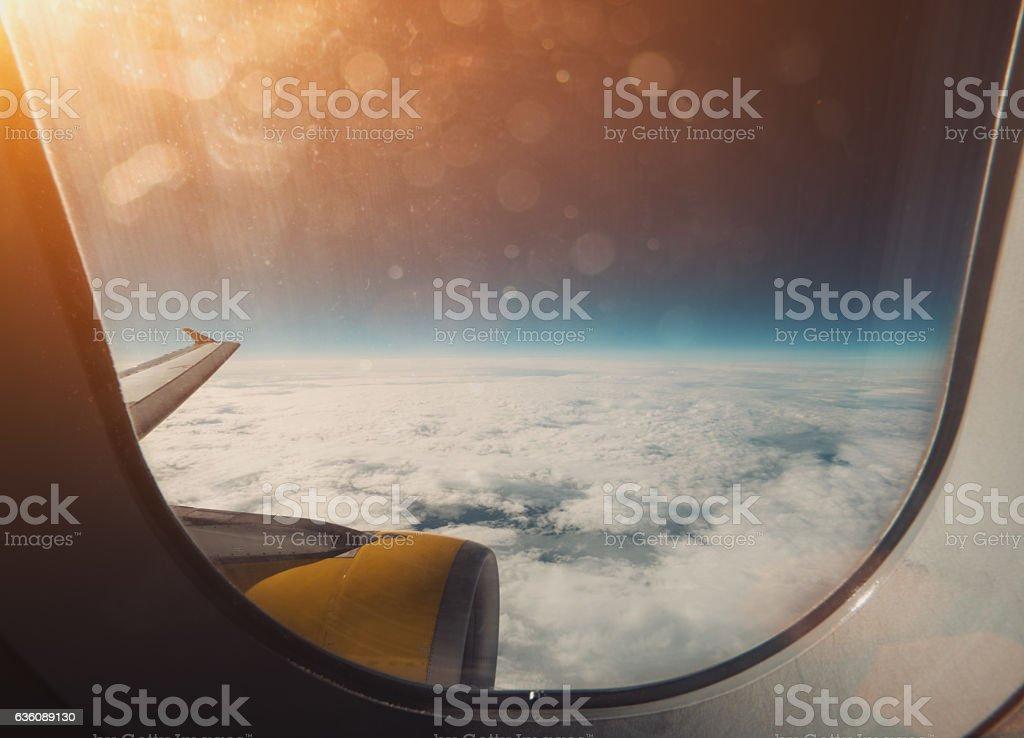 Wide view through aircraft illuminator stock photo