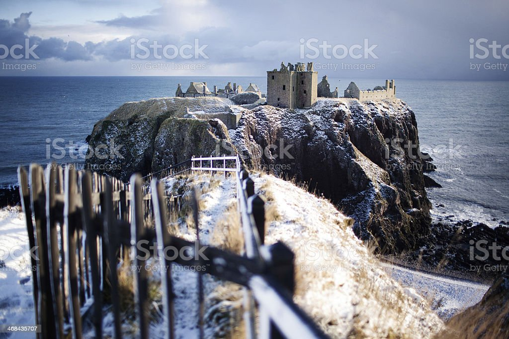 Wide View with Gate - Dunnottar Castle, Stonehaven, Scotland UK stock photo