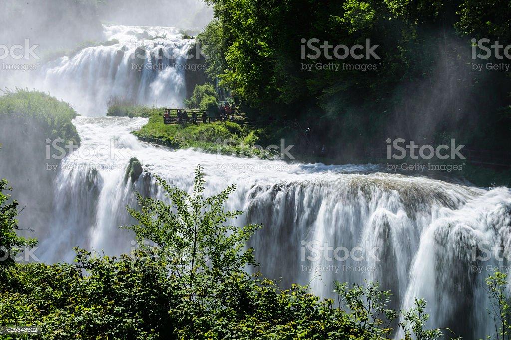 wide waterfall view stock photo